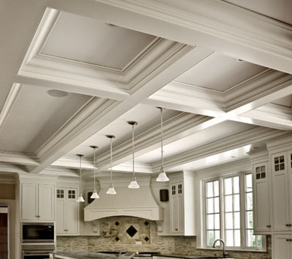 ceiling on to a kitchen